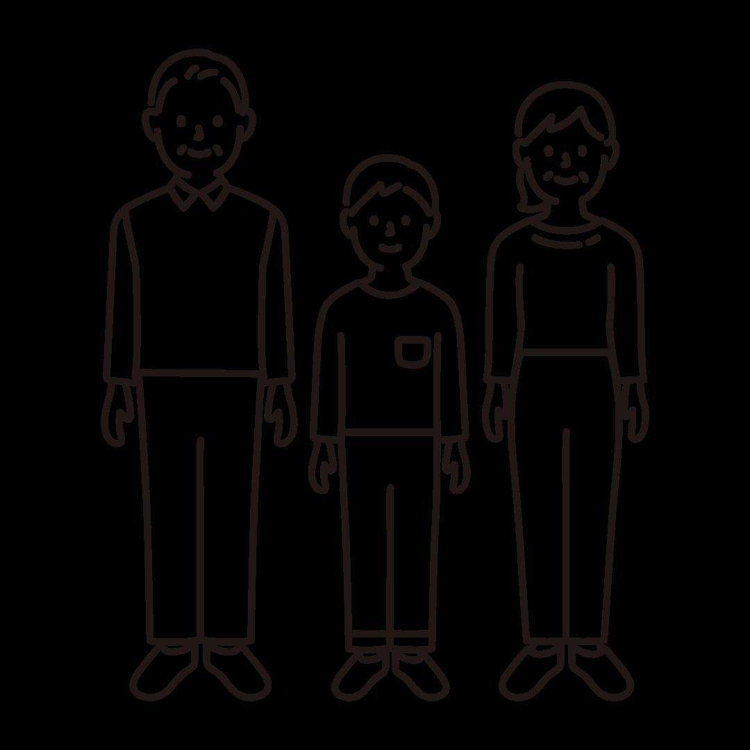 3人家族(全身)の線イラスト