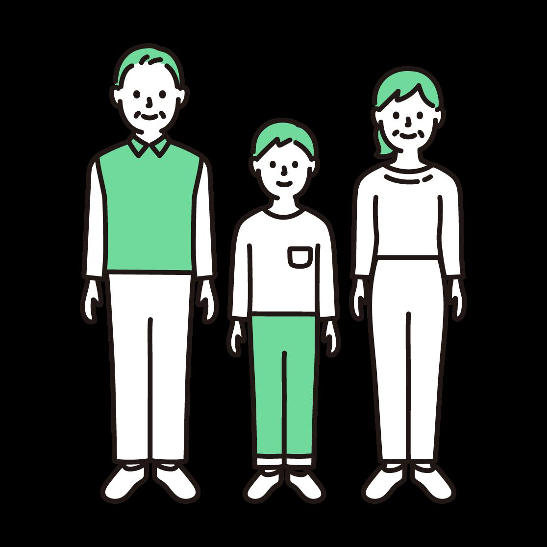3人家族(全身)の単色イラスト