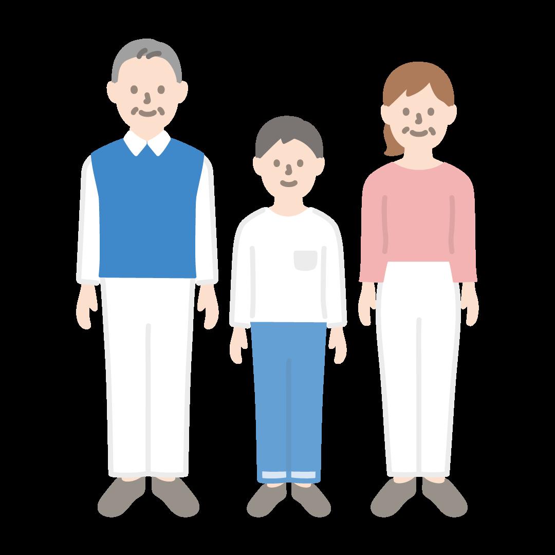 3人家族(全身)の塗りイラスト