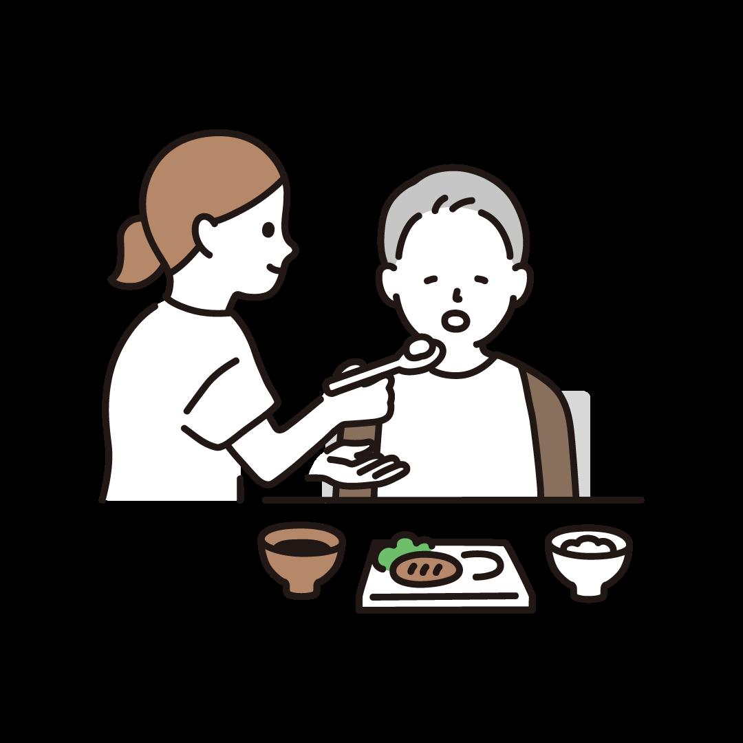 食事介助(ヘルパーとおじいさん)のイラスト