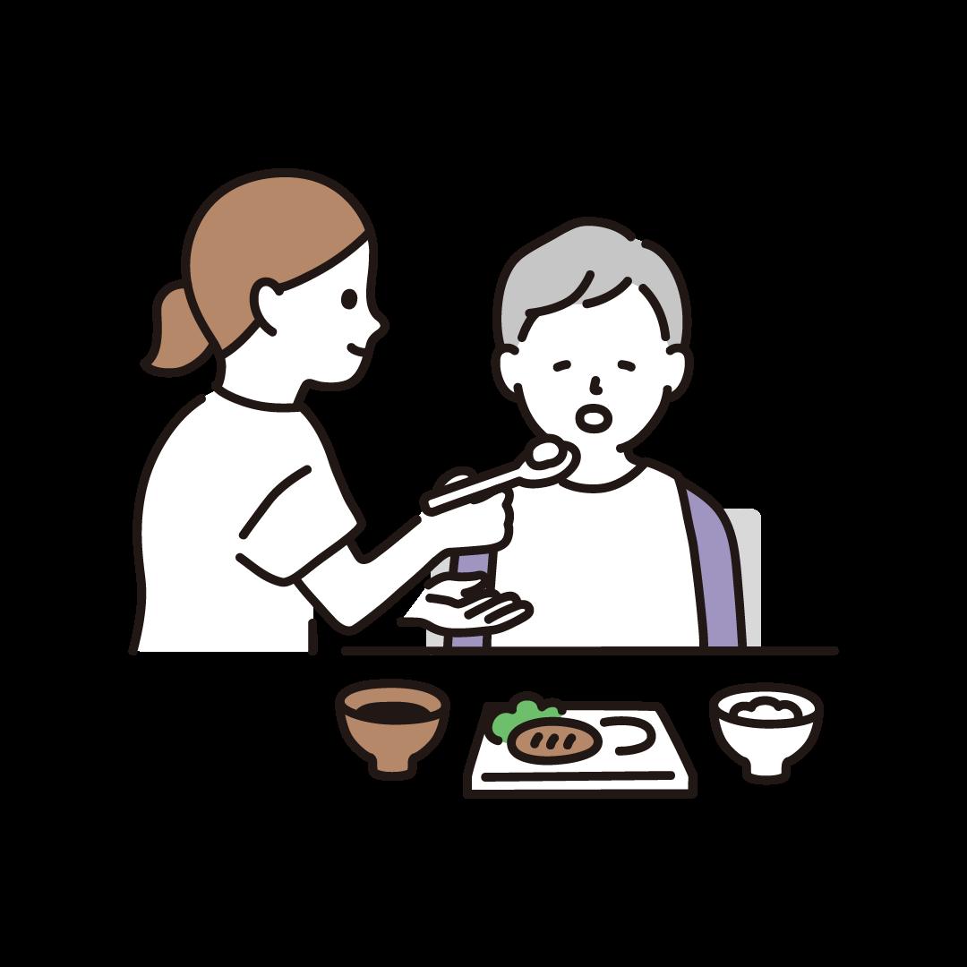 食事介助(ヘルパーとおばあさん)のイラスト