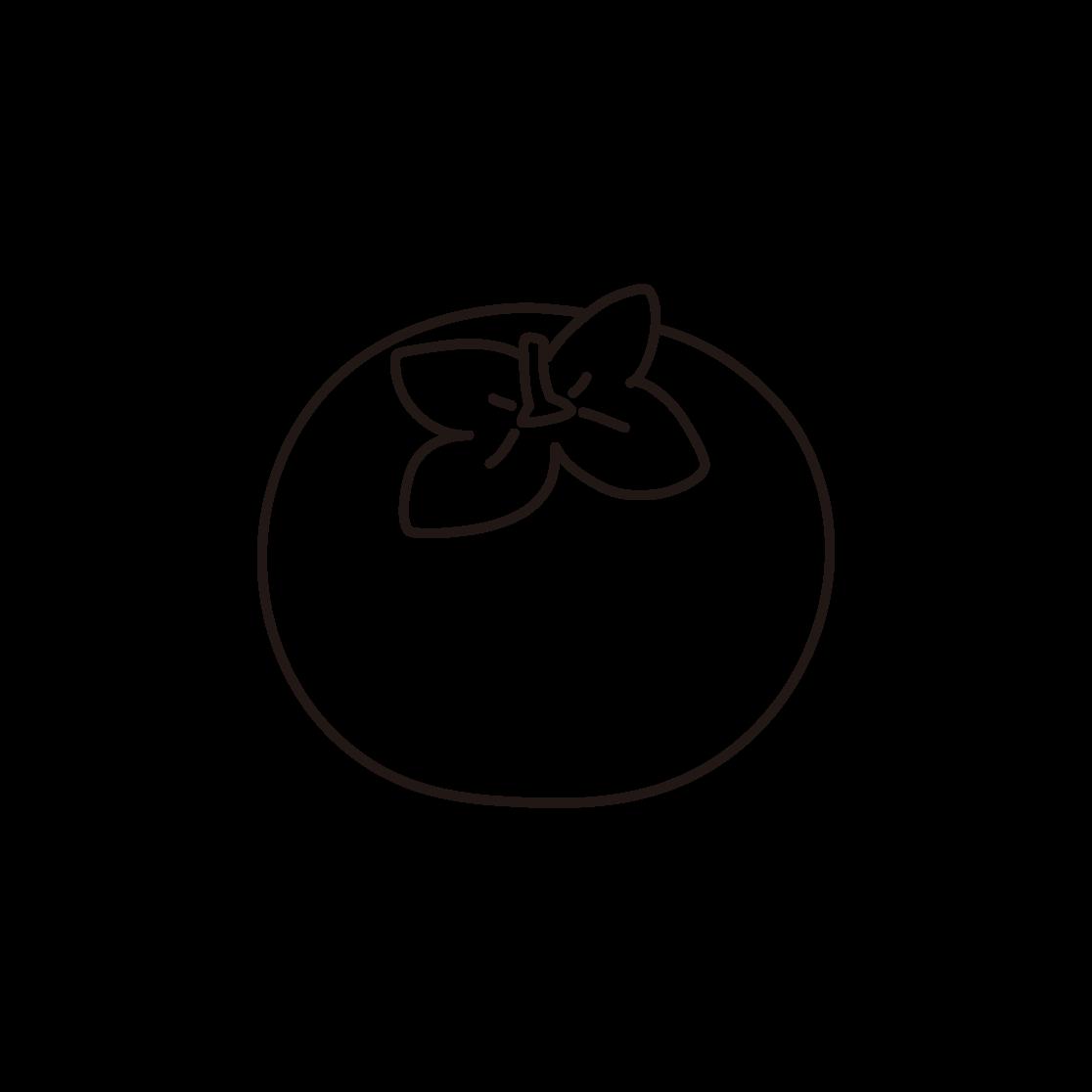 柿の線画イラスト