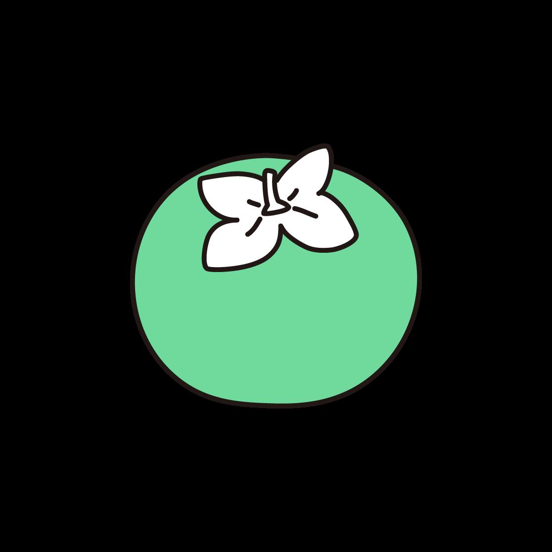 柿の単色イラスト