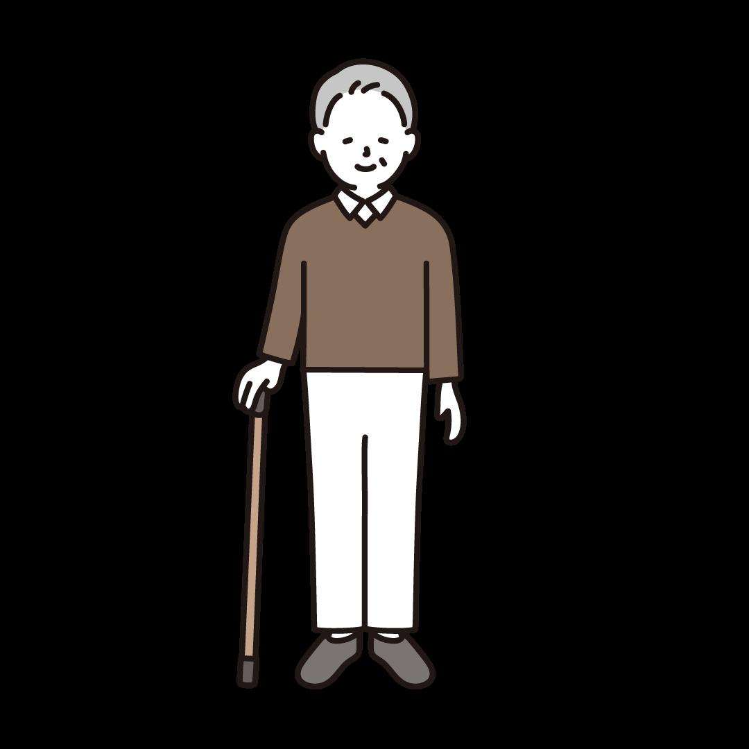 杖をつくシニア男性のイラスト
