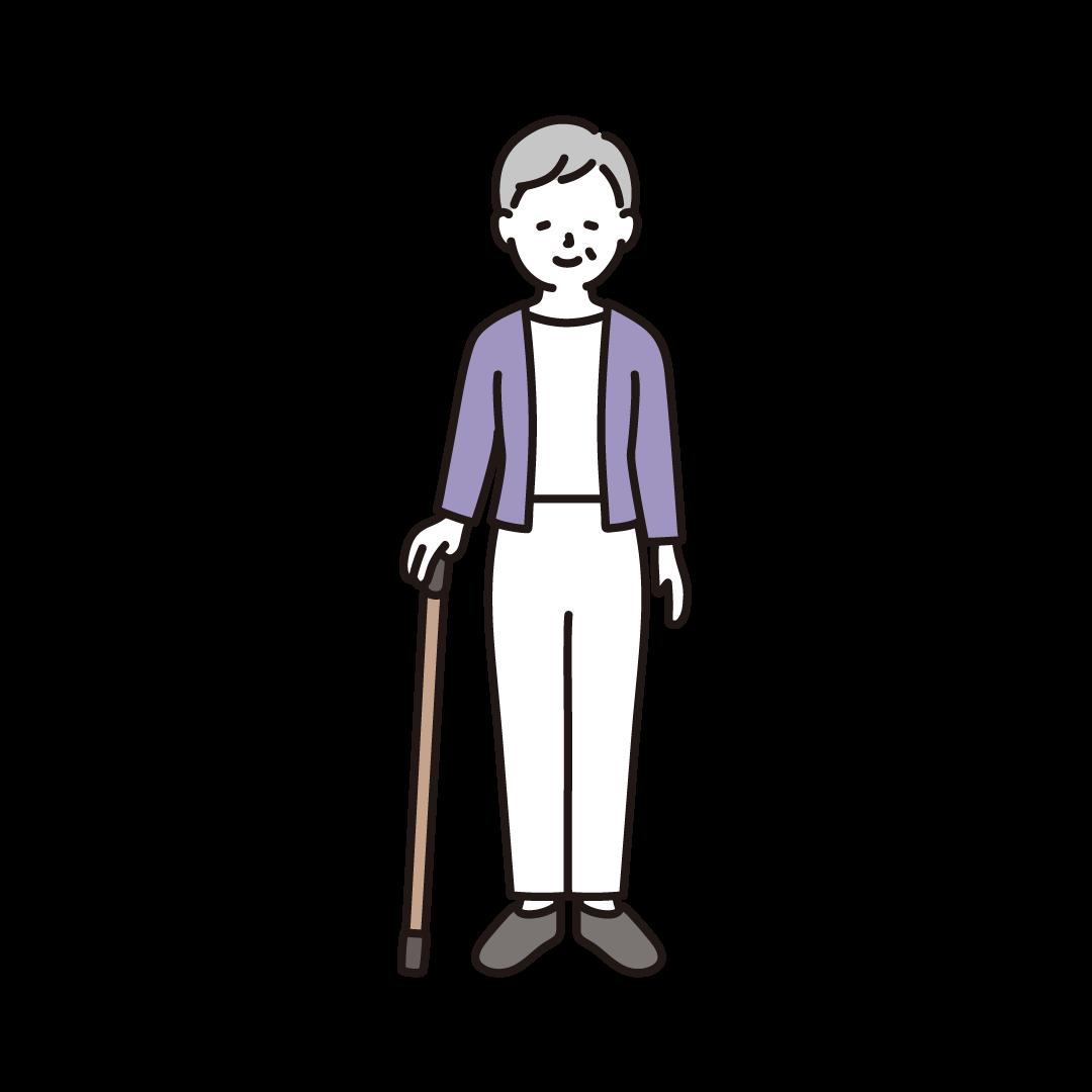 杖をつくおばあさんのイラスト