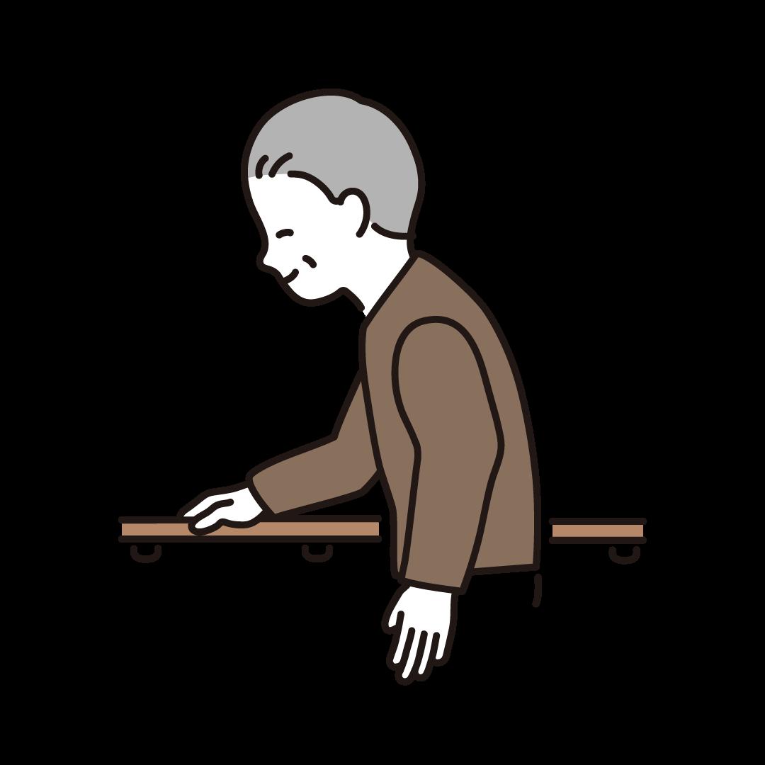 手すりに捕まって歩くシニア男性のイラスト