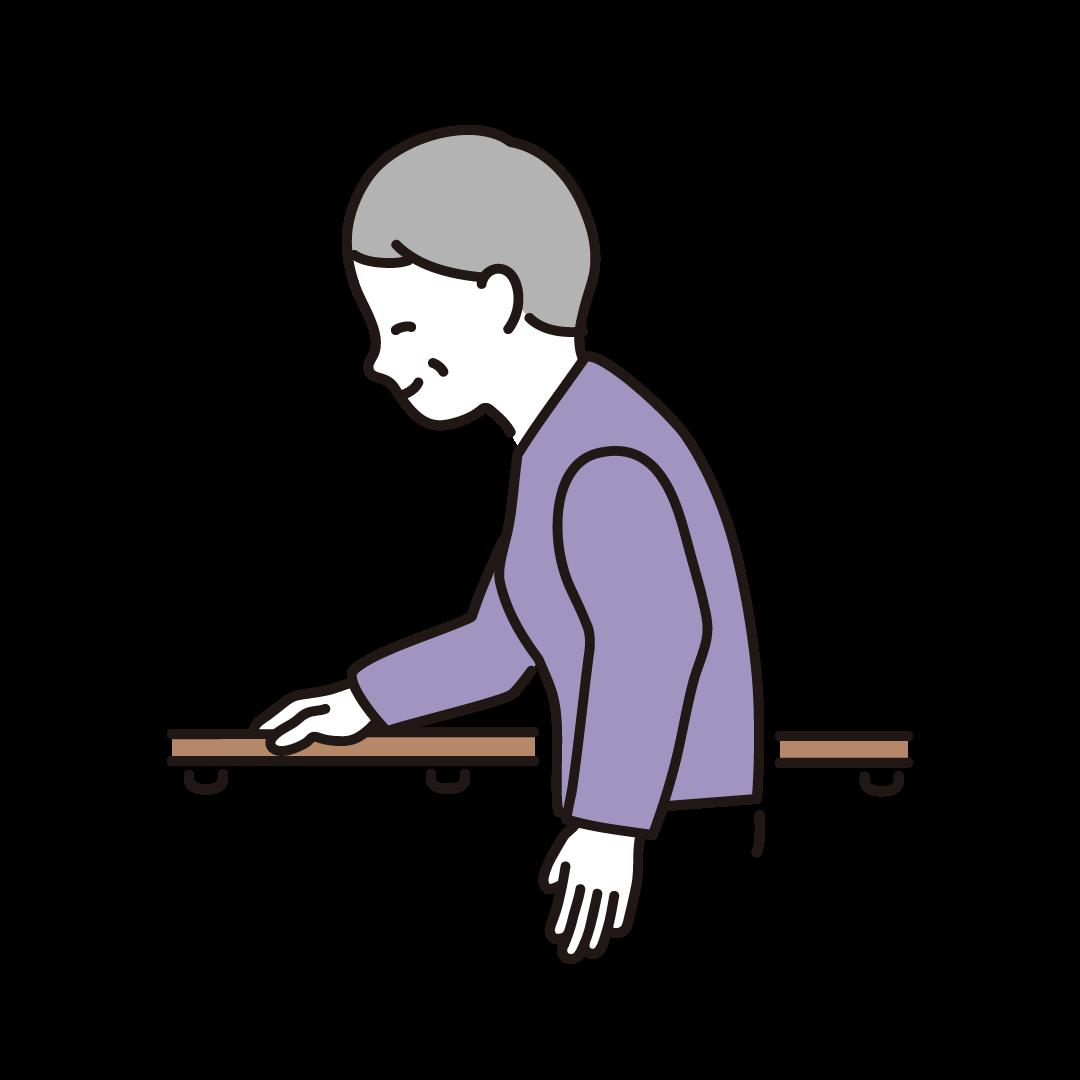 手すりに捕まって歩くシニア女性のイラスト