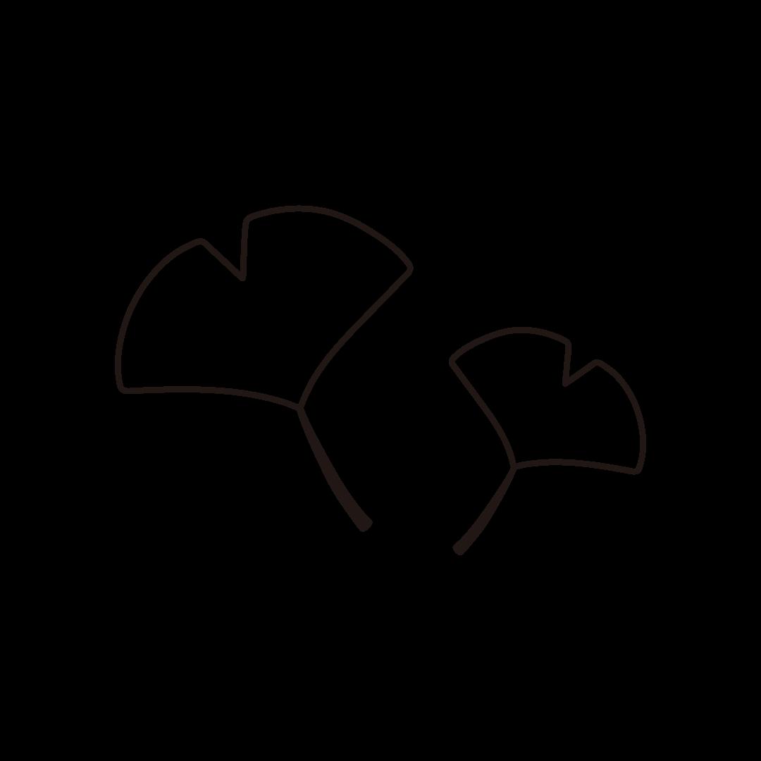 イチョウの葉の線画イラスト