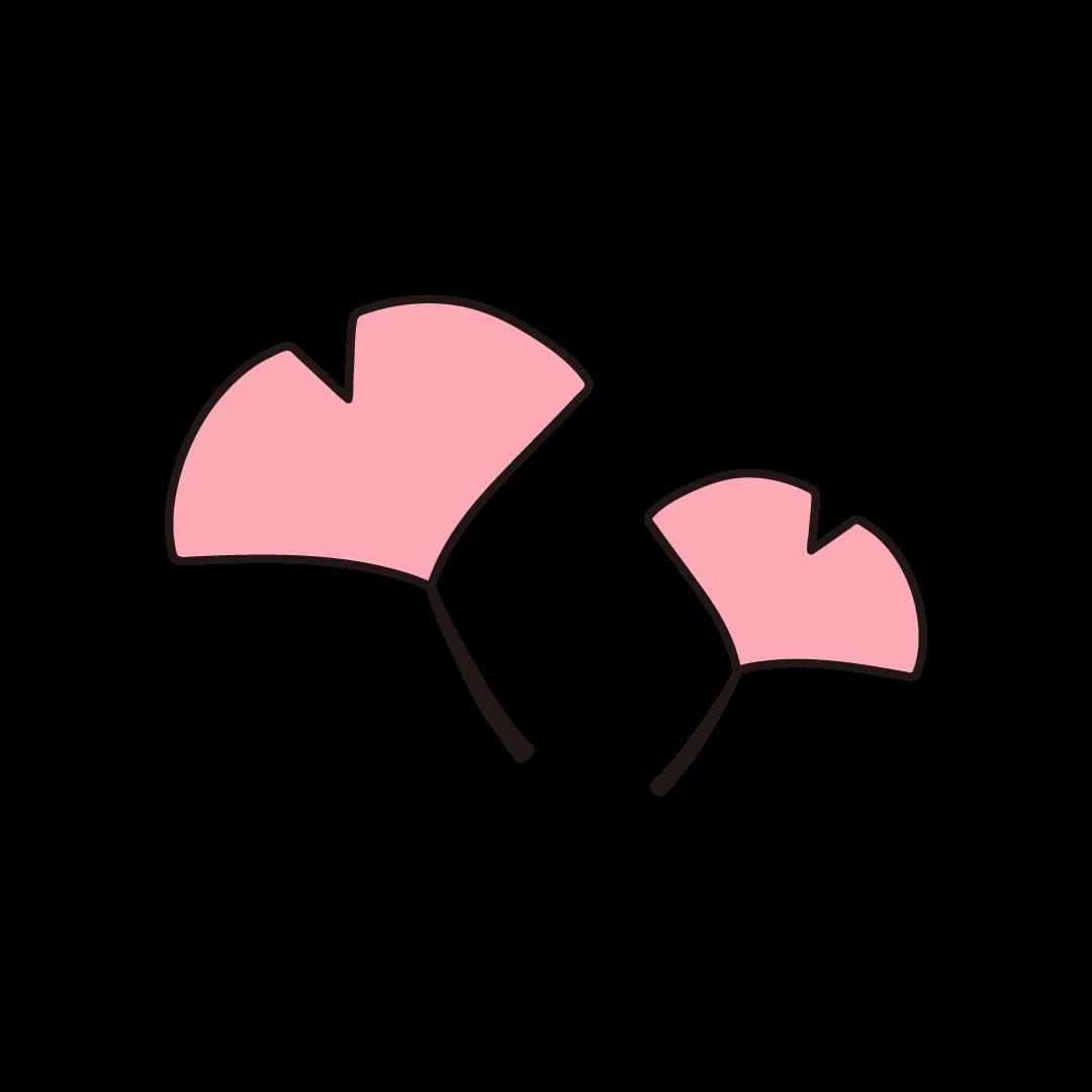 銀杏(イチョウ)の葉の単色イラスト