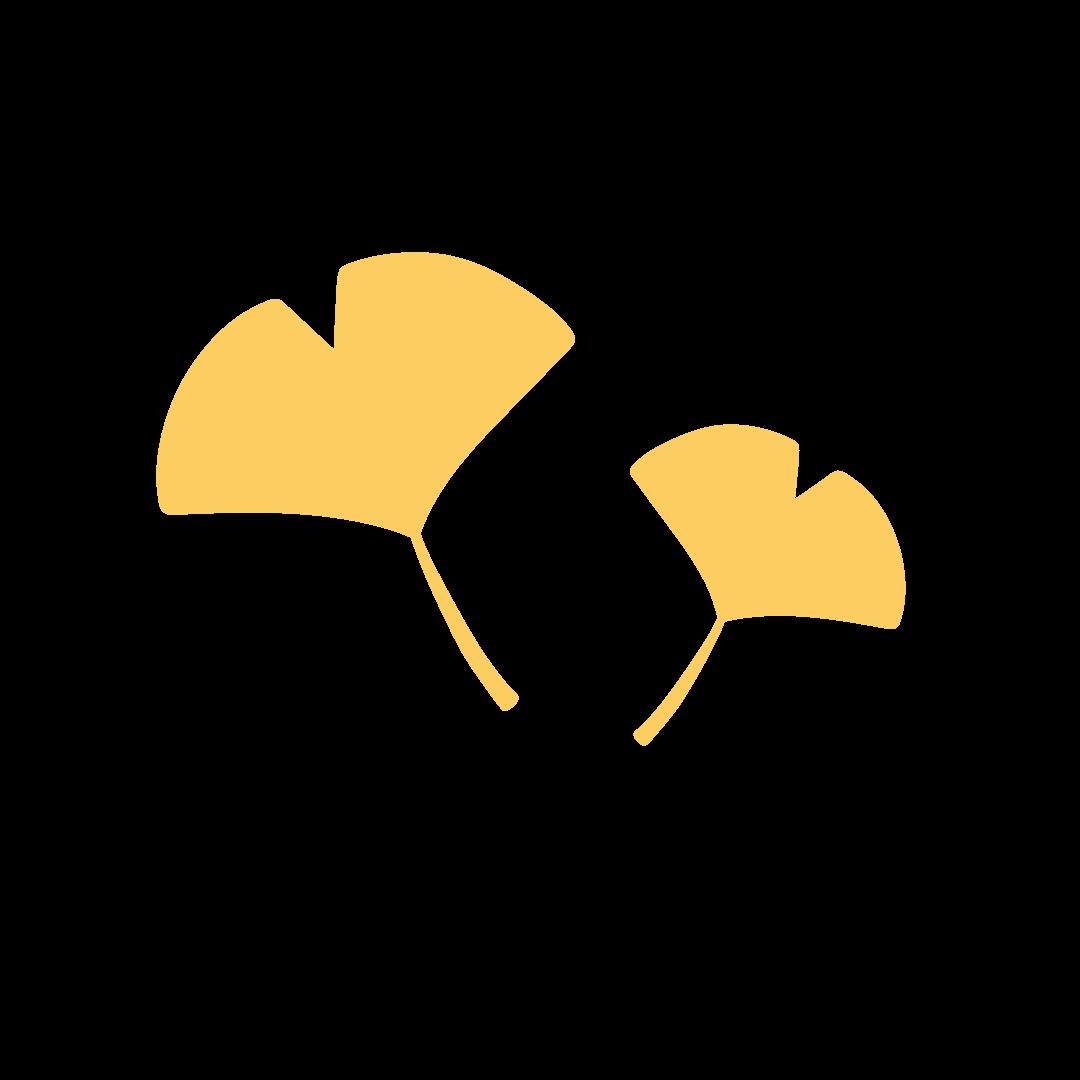 イチョウの葉の塗りイラスト