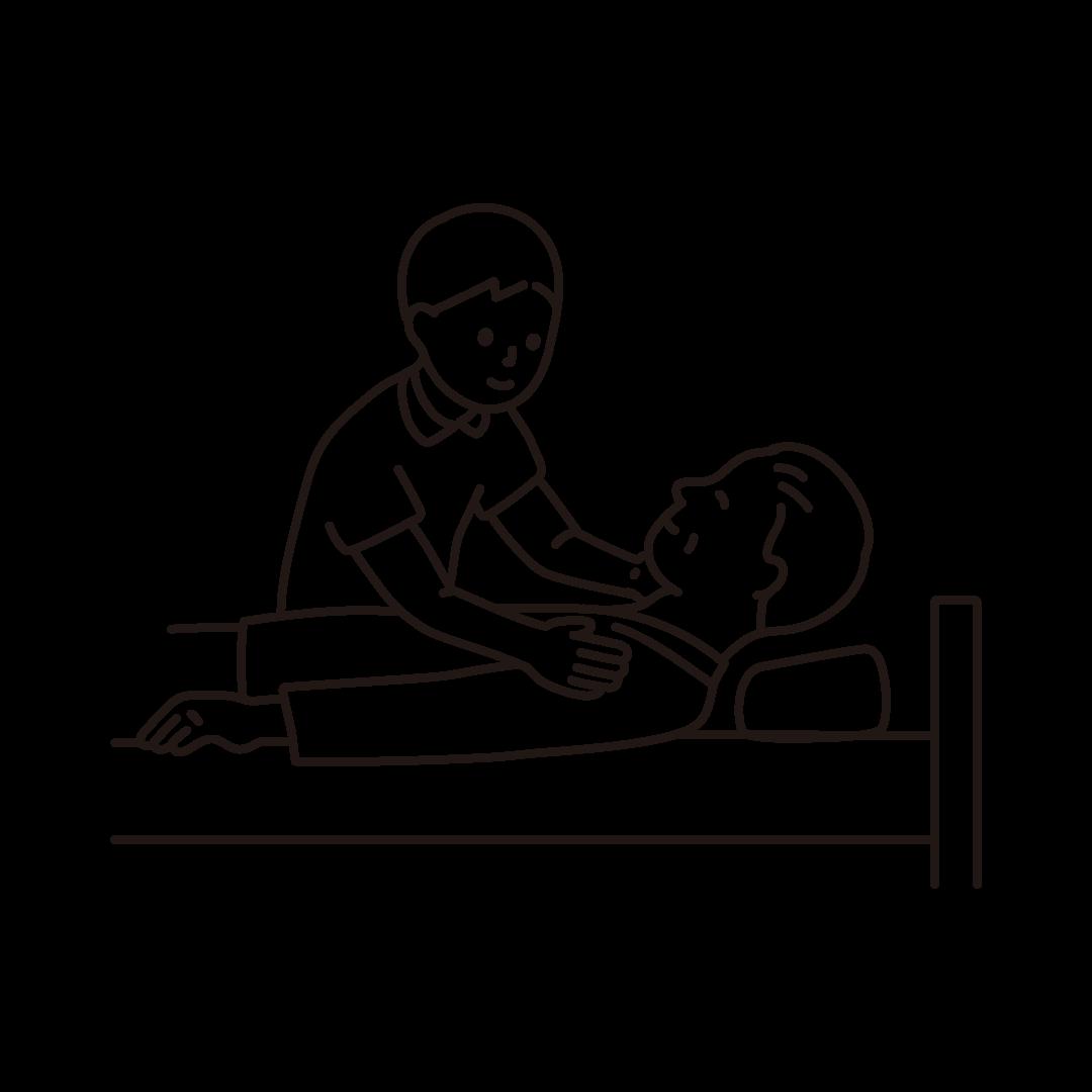 介護をする男性の線画イラスト