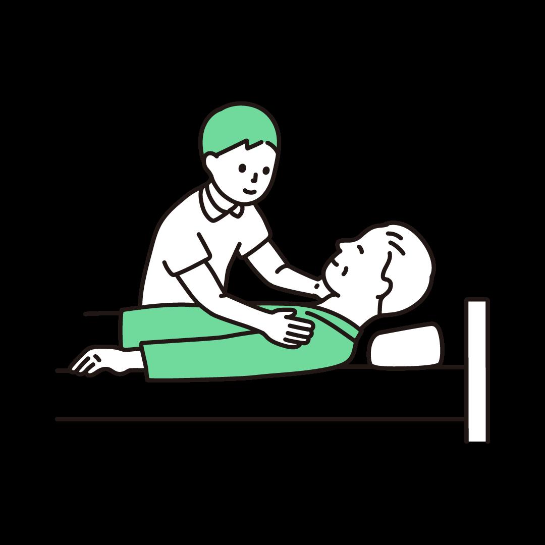 介護をする男性の単色イラスト