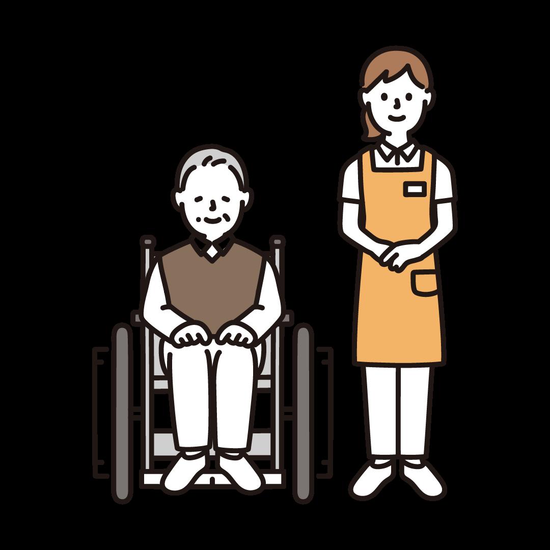 車いすの男性と女性介護士