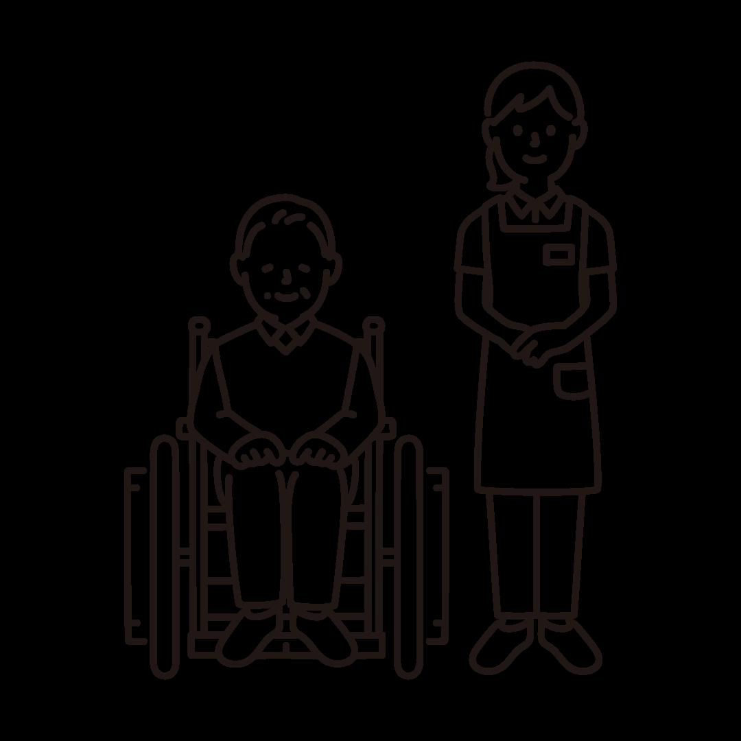 車いすのおじいさんと女性の介護士の線画イラスト
