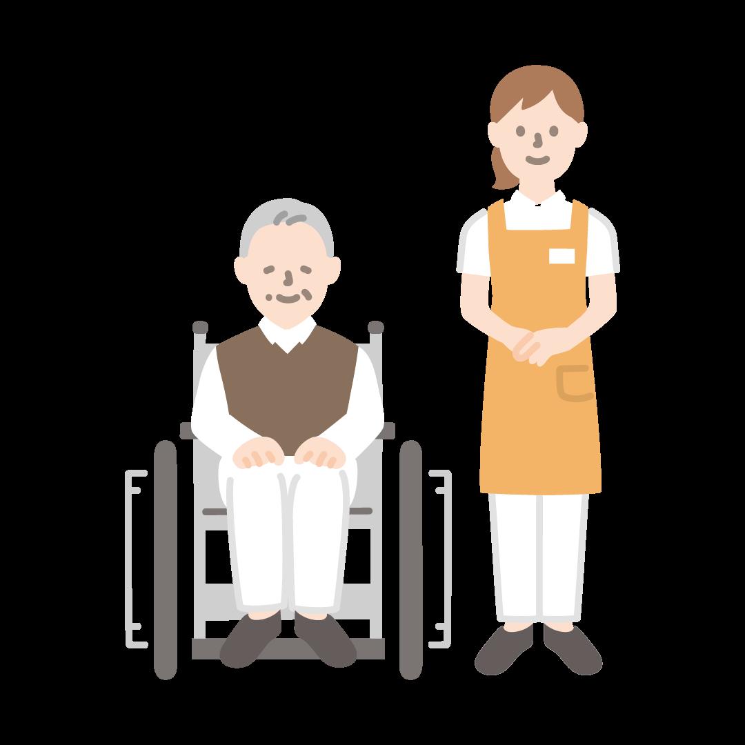 車いすのおじいさんと女性の介護士の塗りイラスト