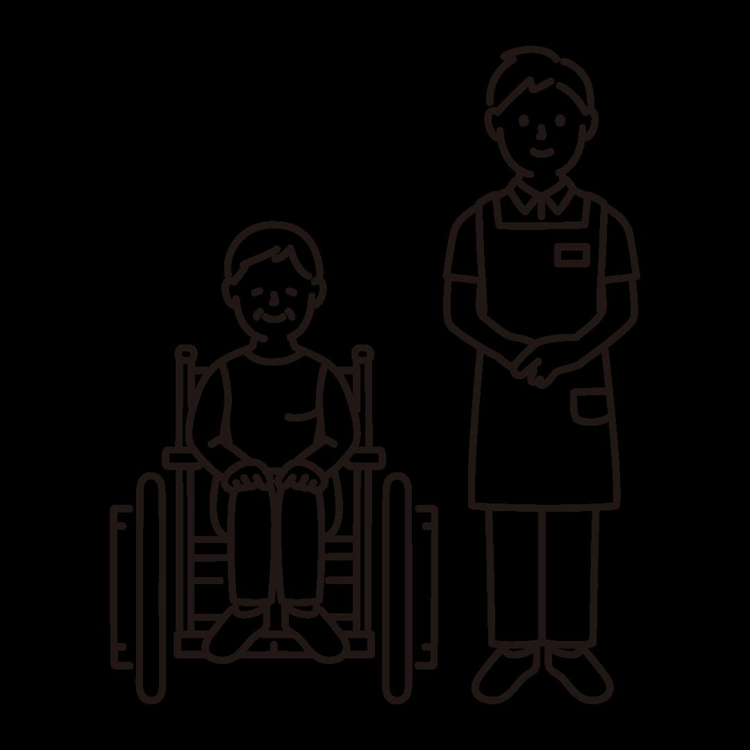 車いすのおばあさんと介護士(男性)の線イラスト