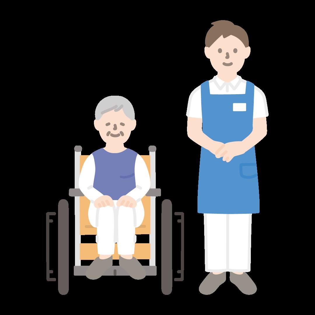 車いすのおばあさんと介護士(男性)の塗りイラスト