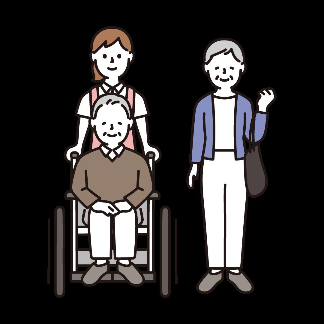 車椅子のおじいさんとおばあさん、介護士のイラスト