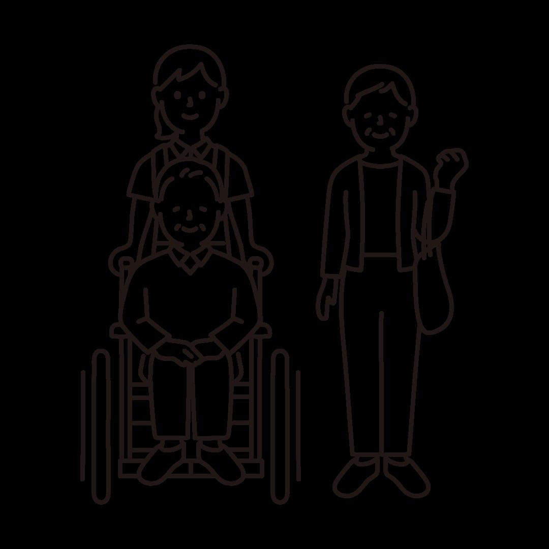 車椅子のおじいさんとおばあさん、介護福祉士の線イラスト