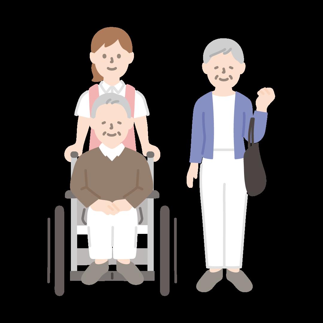 車椅子のおじいさんとおばあさん、介護福祉士の塗りイラスト