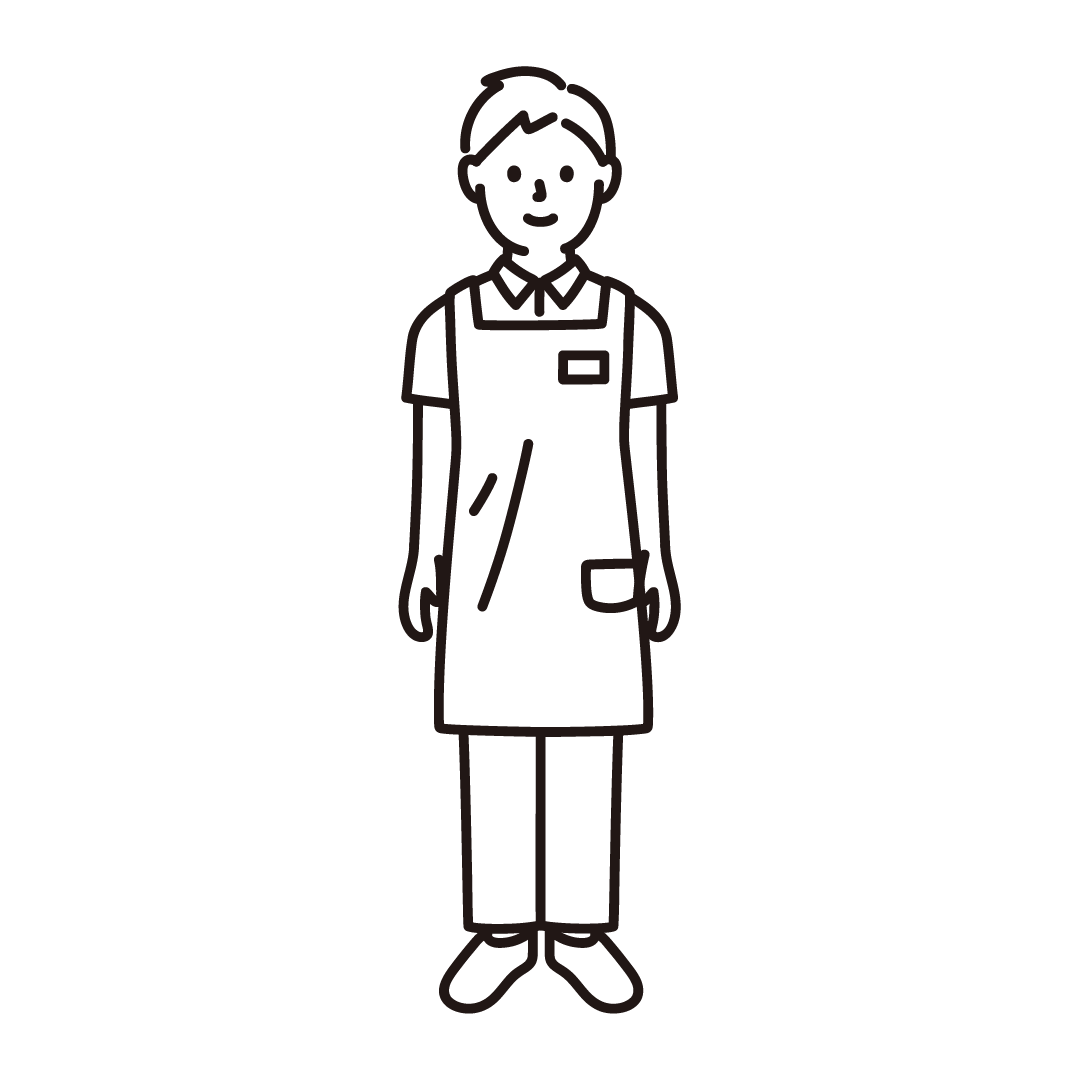 介護士(男性)の線イラスト
