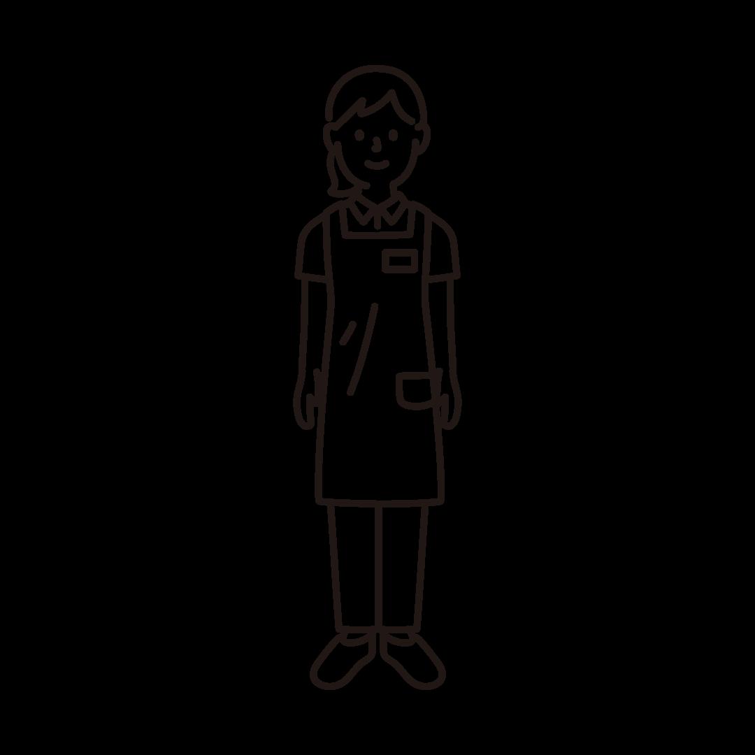 介護士(女性)の線イラスト