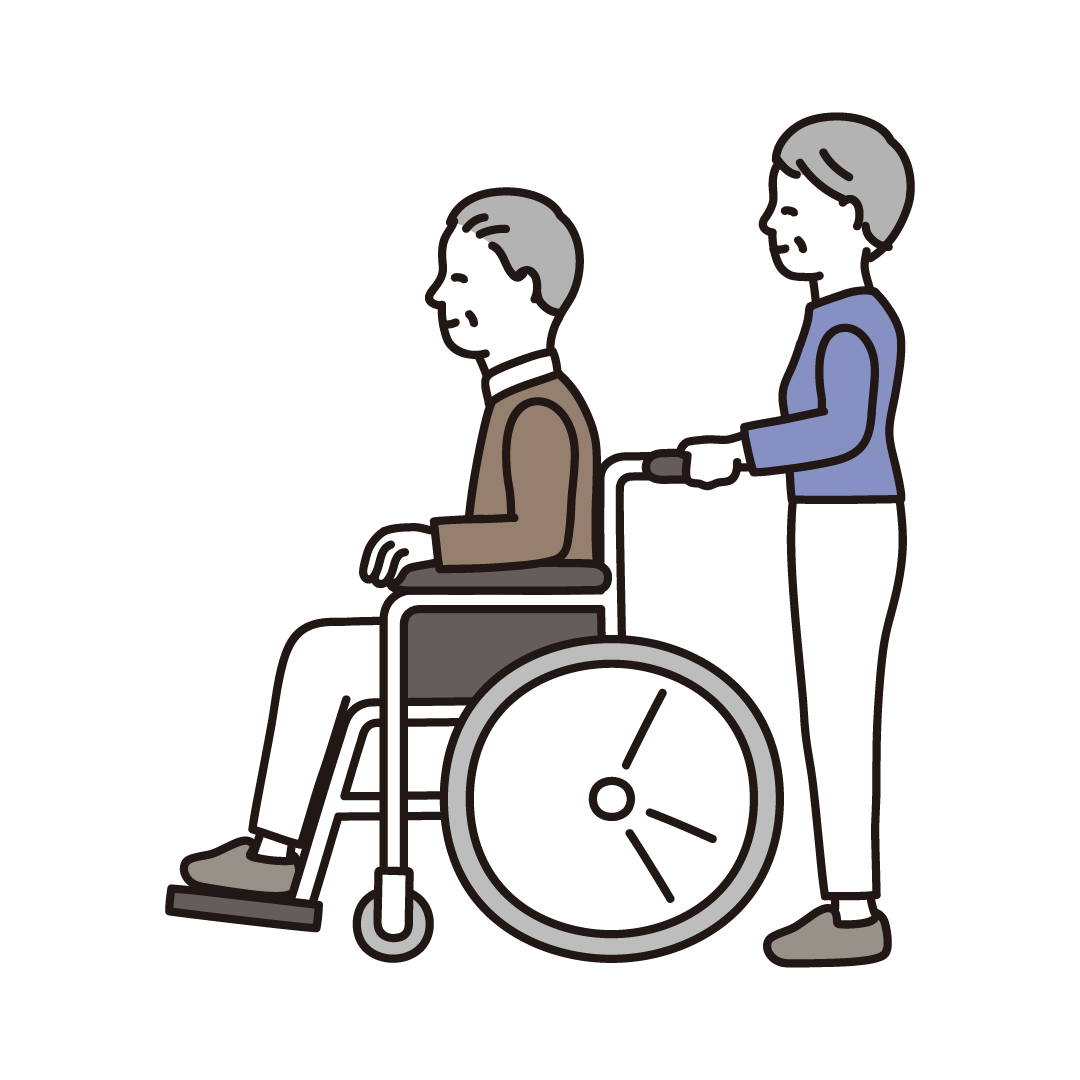 車椅子を押すシニア夫婦