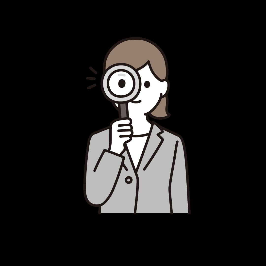 虫眼鏡をもつ女性のイラスト