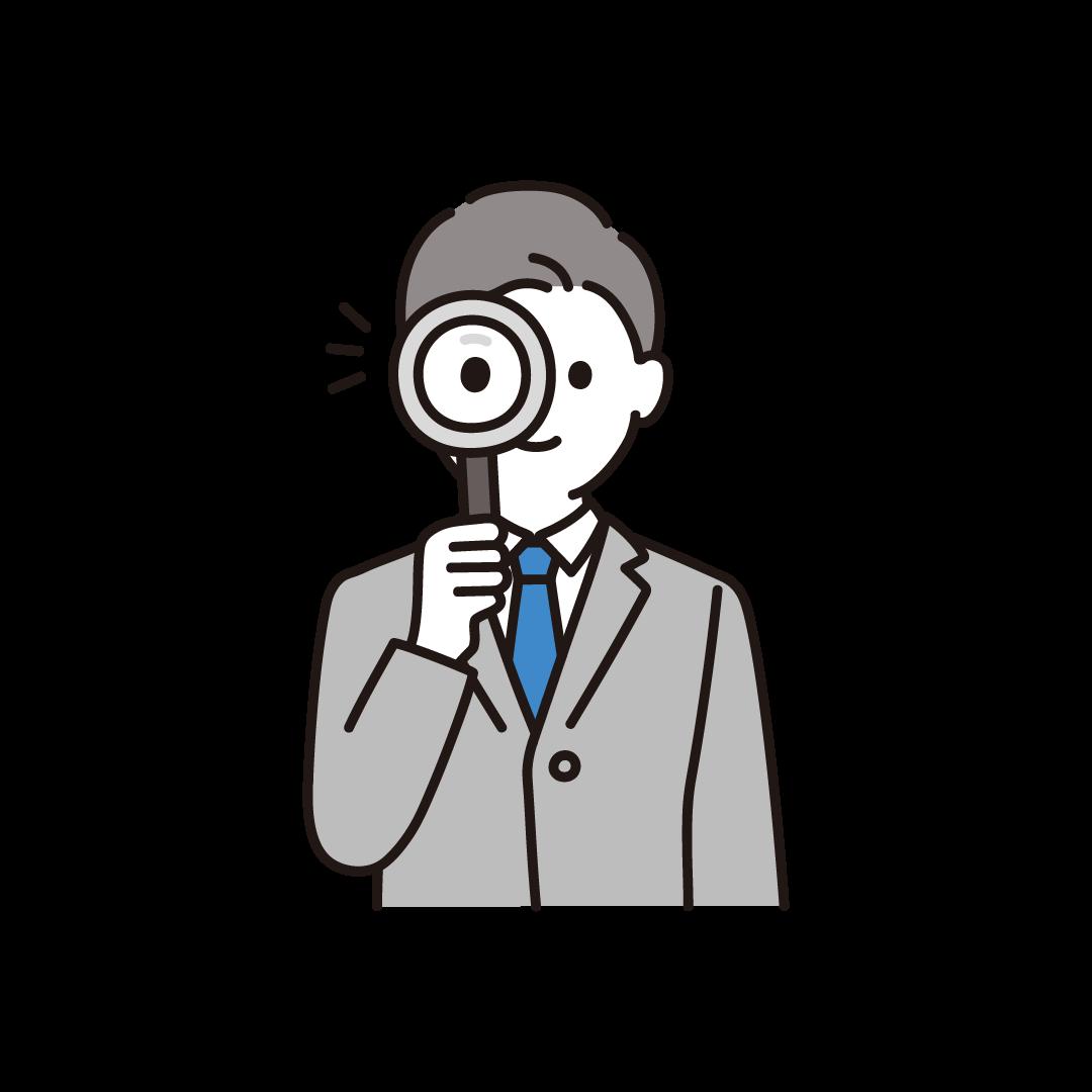 虫眼鏡をもつ男性のイラスト