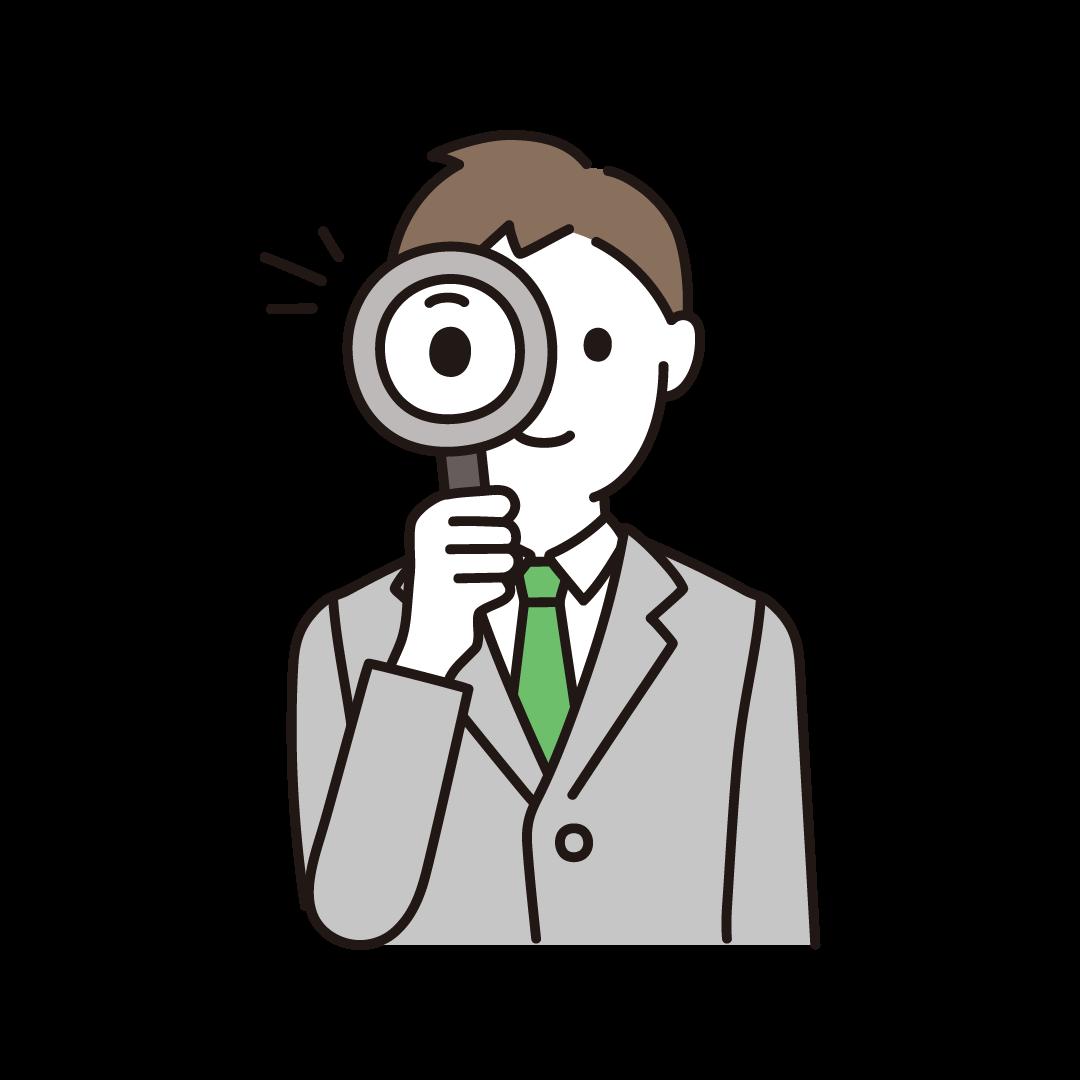 虫眼鏡をもつ男性
