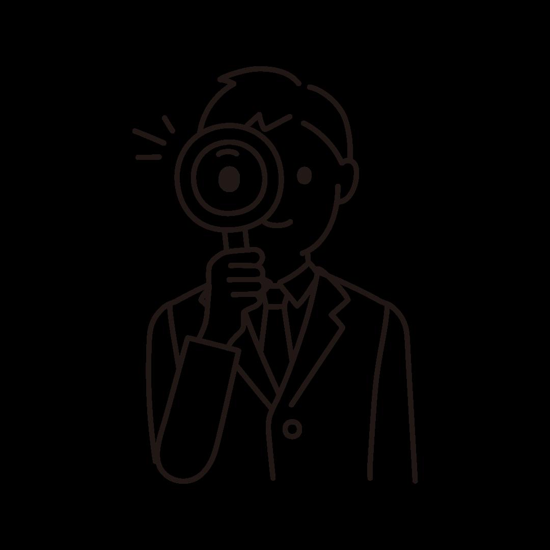 虫眼鏡をもつ男性の線イラスト