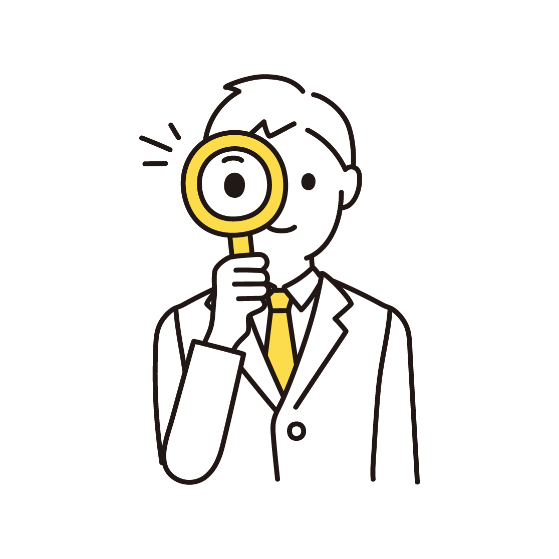 虫眼鏡をもつ男性の単色イラスト