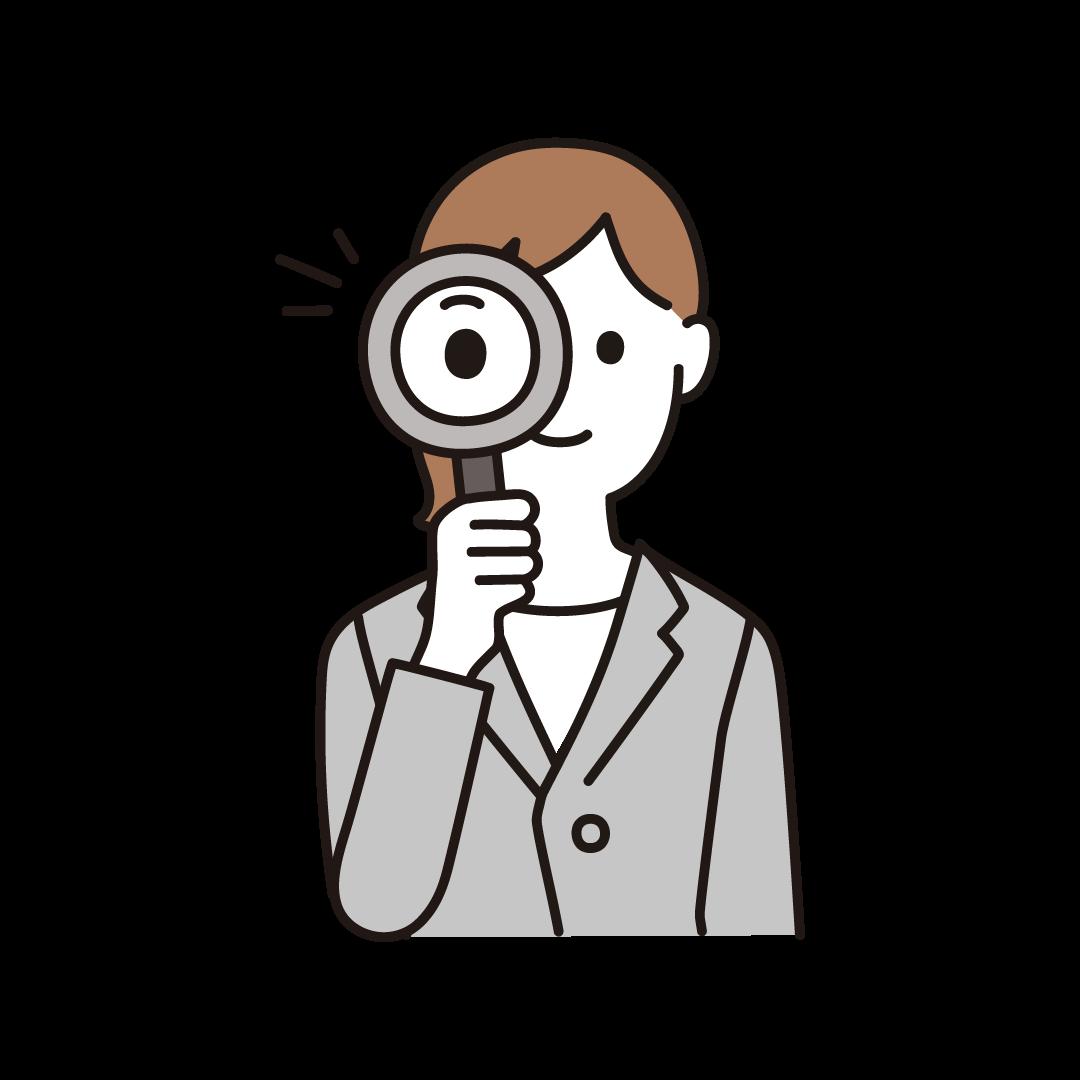 虫眼鏡をもつ女性