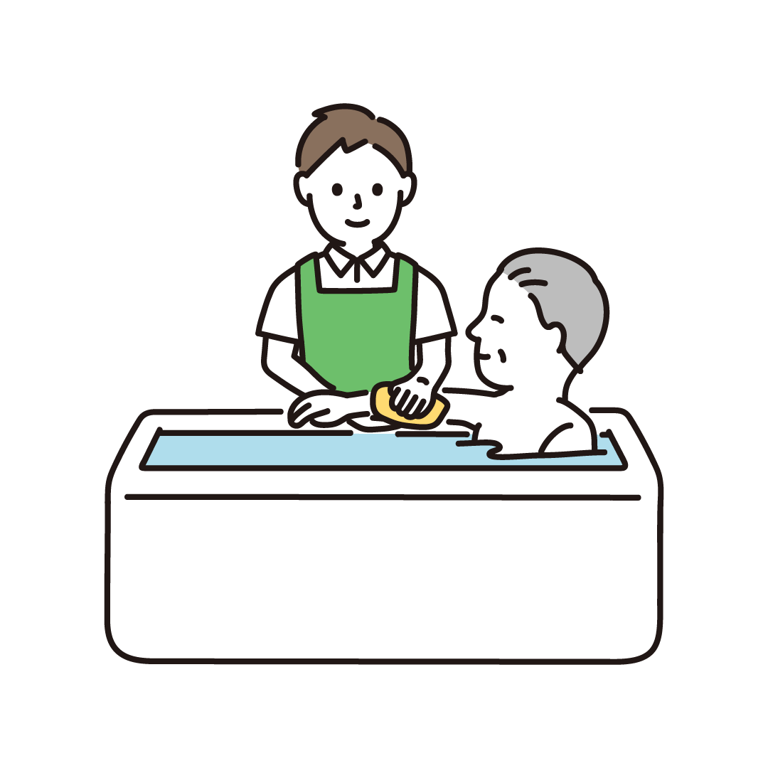 入浴介助をする男性のイラスト