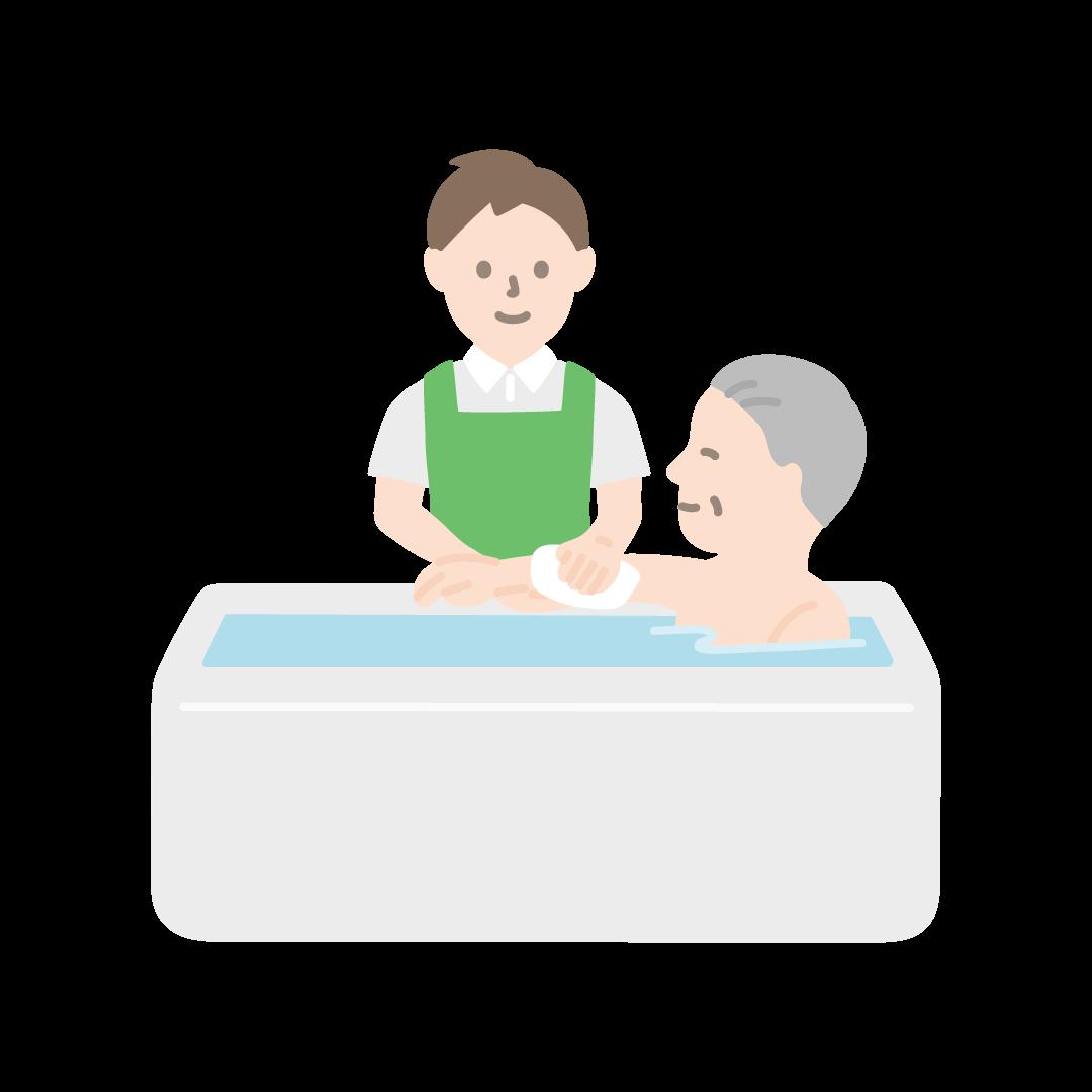 入浴介助をする男性の塗りイラスト