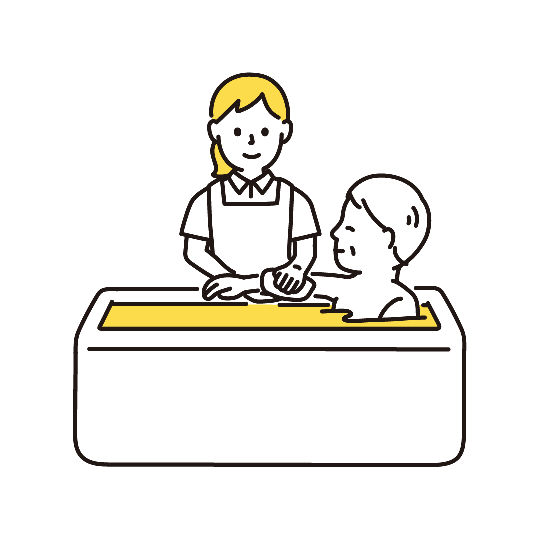 入浴介助をする女性の単色イラスト