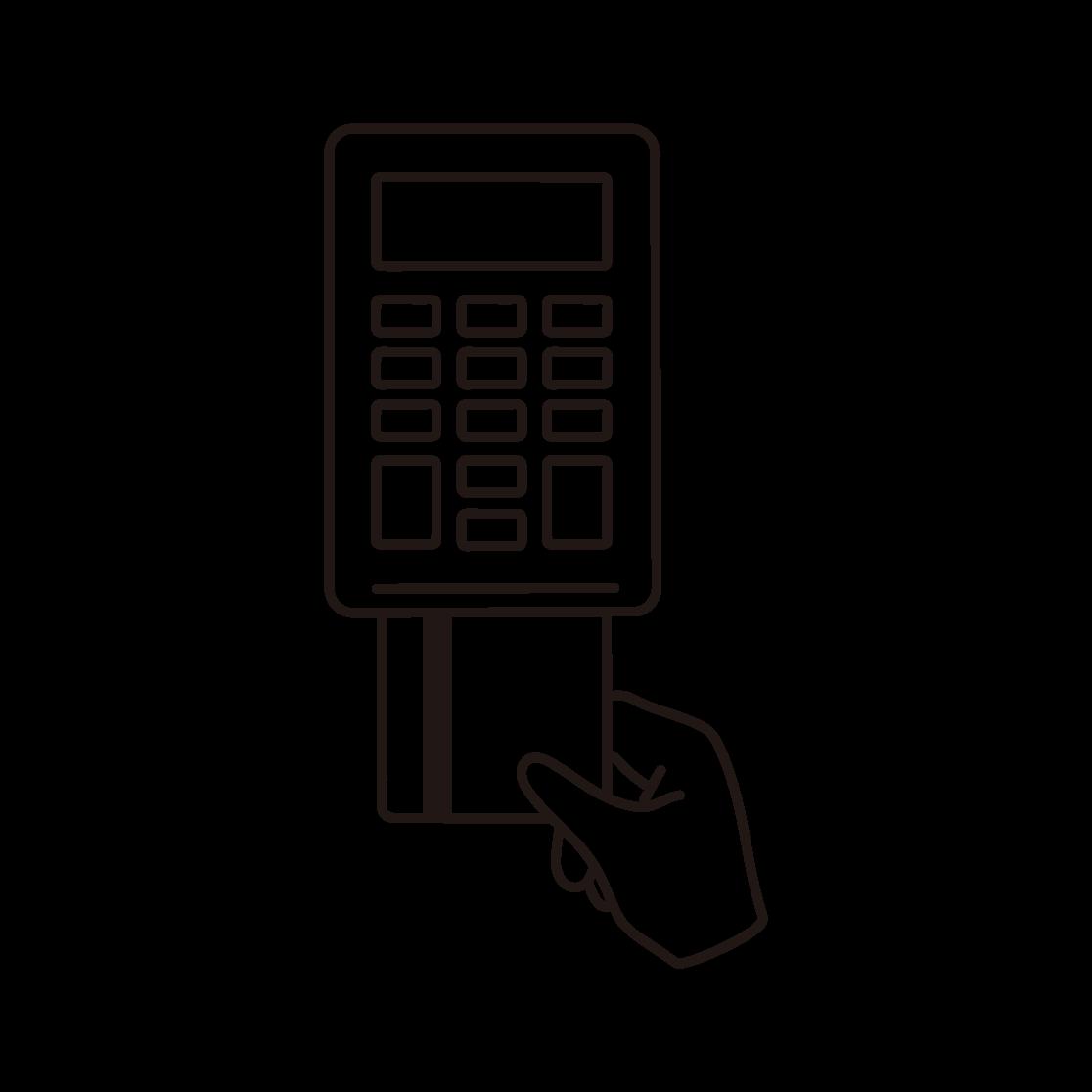 クレジットカード決済のイラスト(線画)