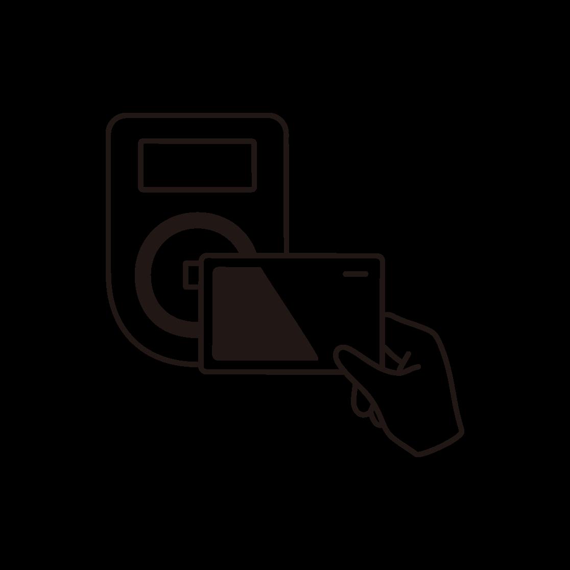 電子マネー決済のイラスト(線画)