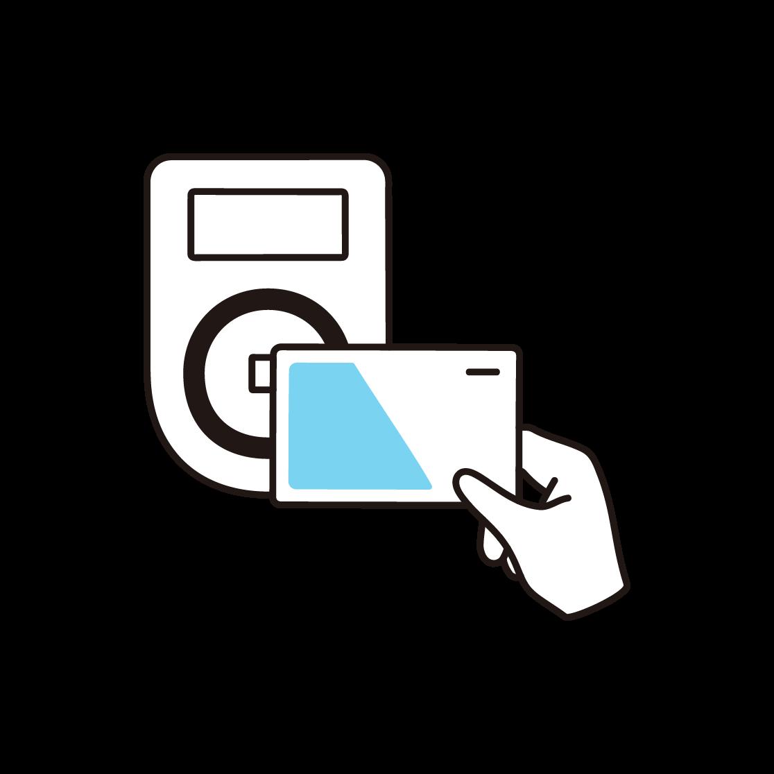電子マネー決済のイラスト(単色)