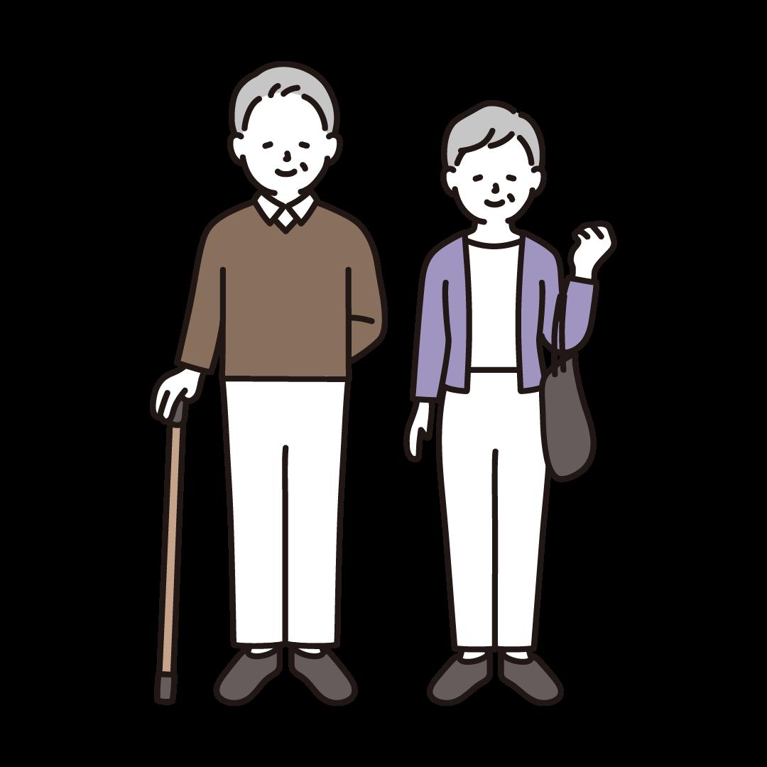 杖をつくシニア夫婦のイラスト