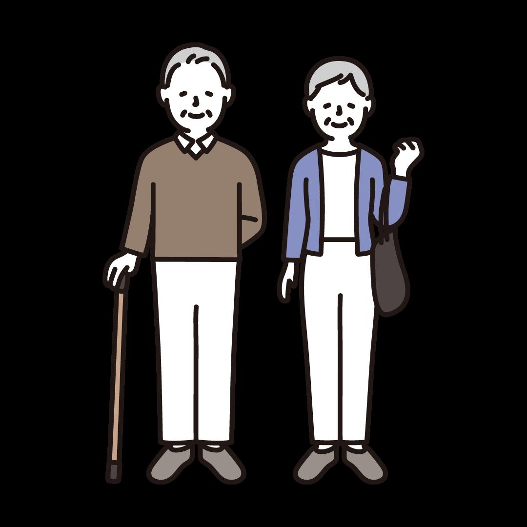 杖をついたおじいさんとおばあさんのイラスト