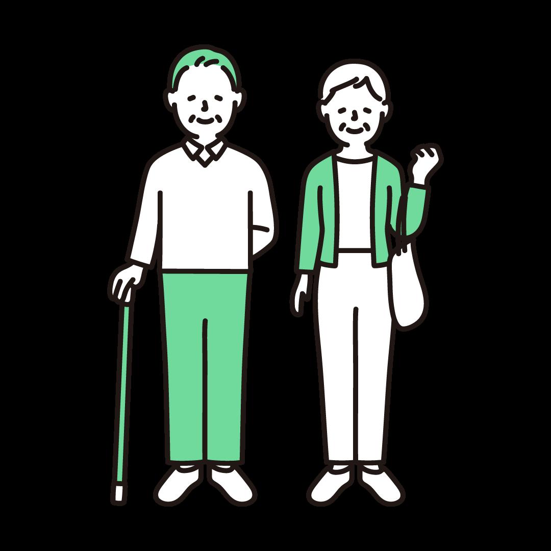 杖をつくシニア夫婦の単色イラスト