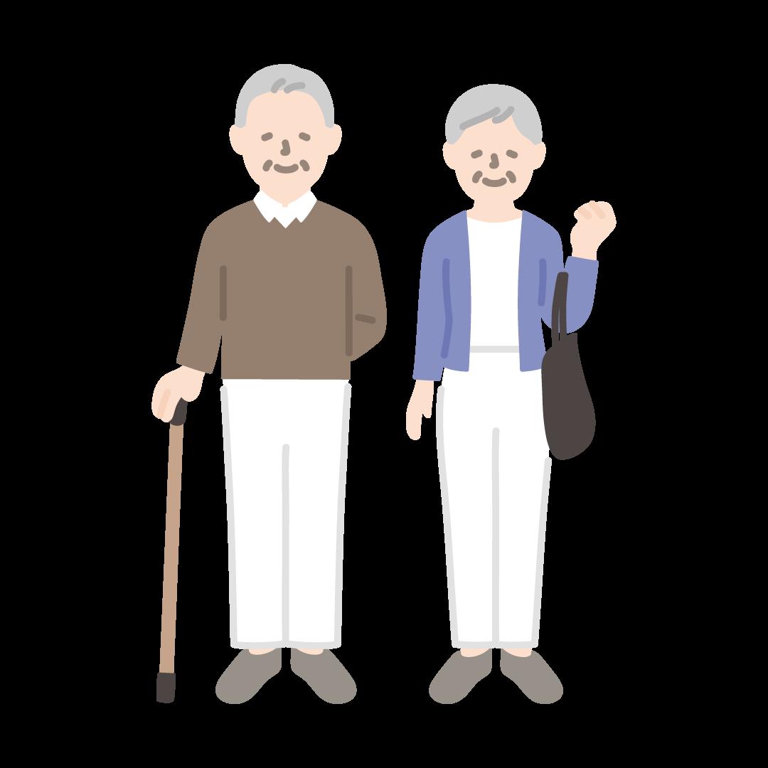 杖をついたおじいさんとおばあさんの塗りイラスト