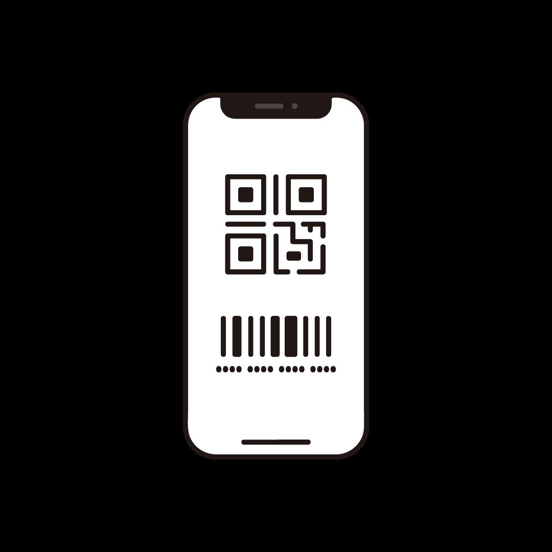QRコードが表示されたスマホのイラスト