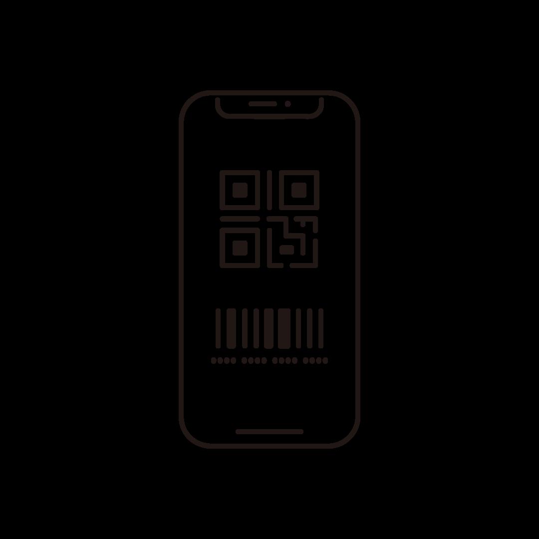QRコードが表示されたスマホの線イラスト
