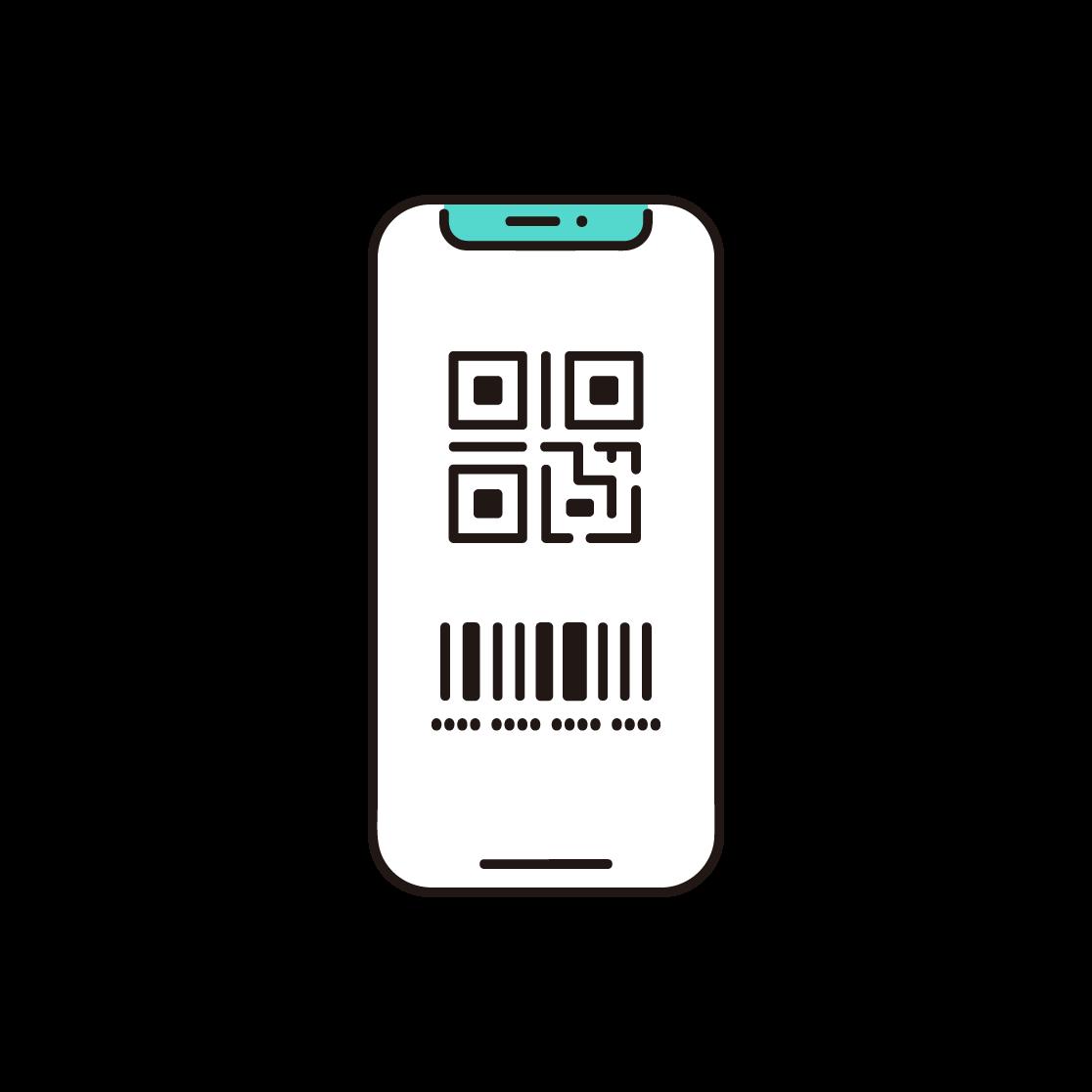 QRコードが表示されたスマホの単色イラスト