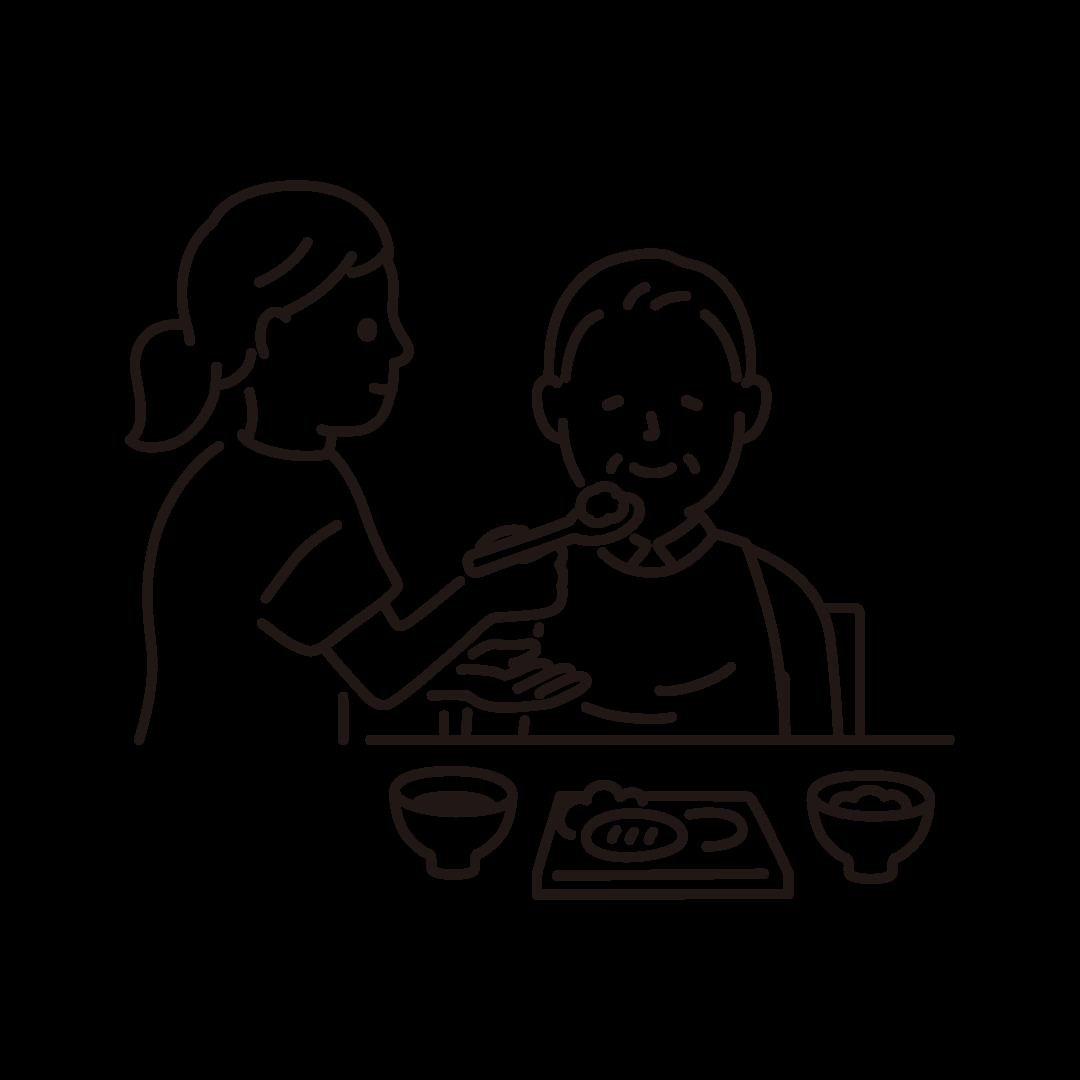 食事介助(ヘルパーとおじいさん)の線イラスト