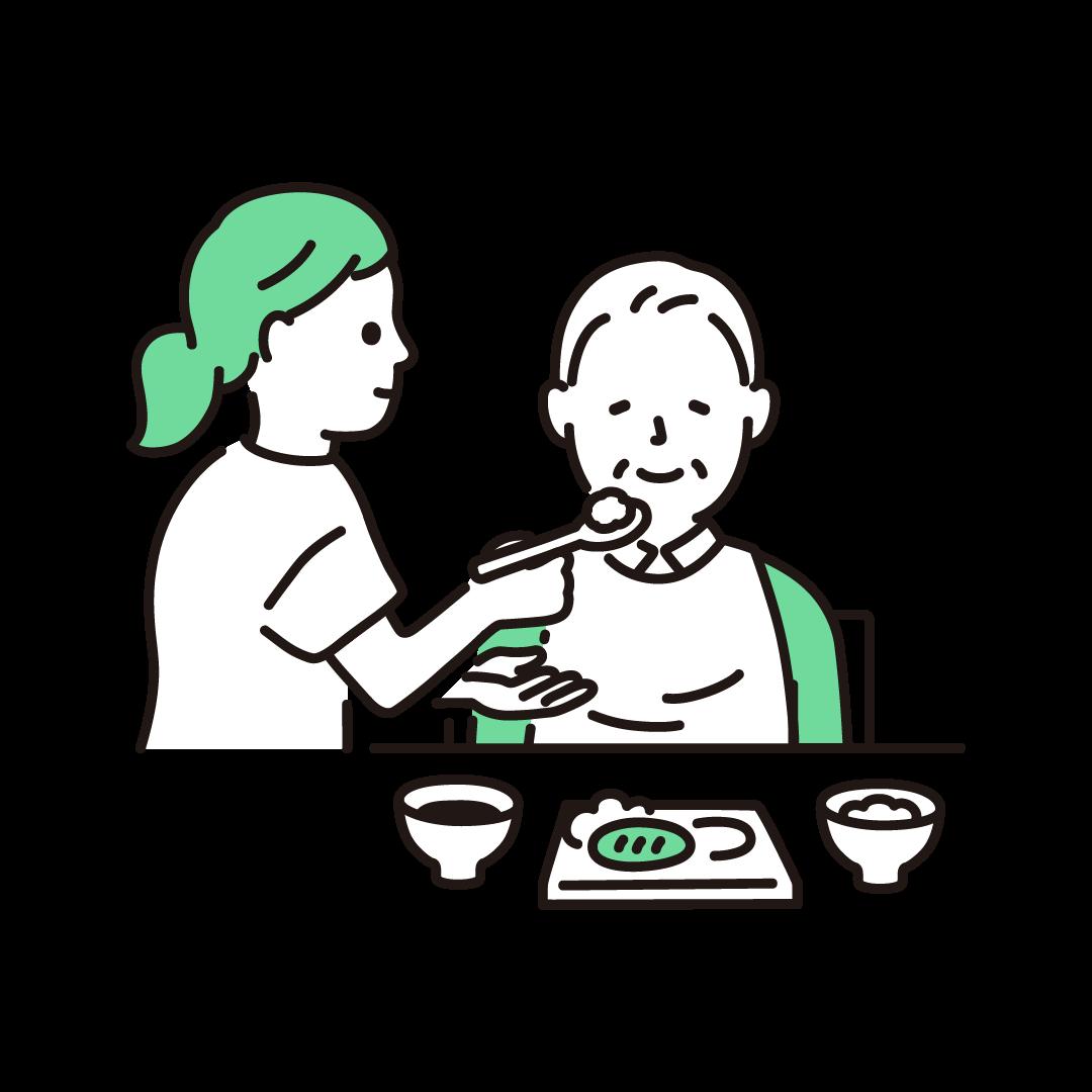 食事介助(男性)の単色イラスト
