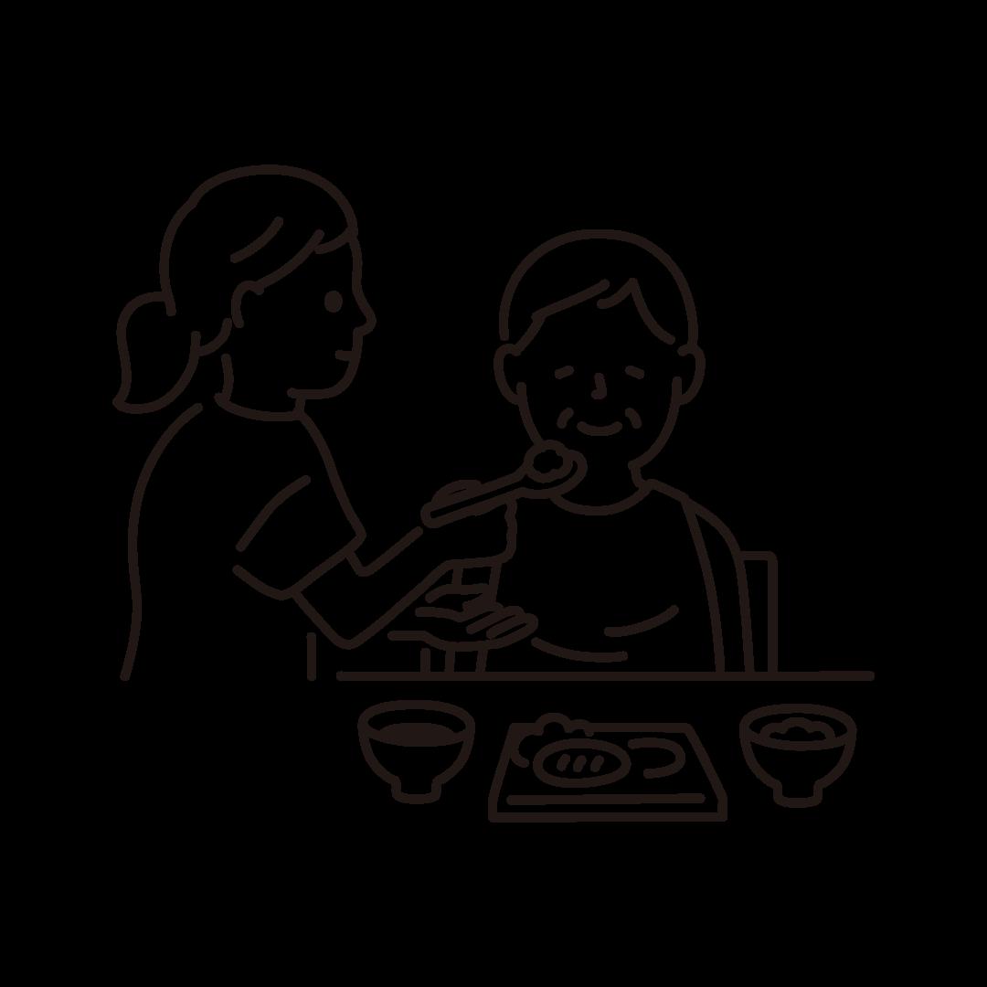 食事介助(ヘルパーとおばあさん)の線イラスト
