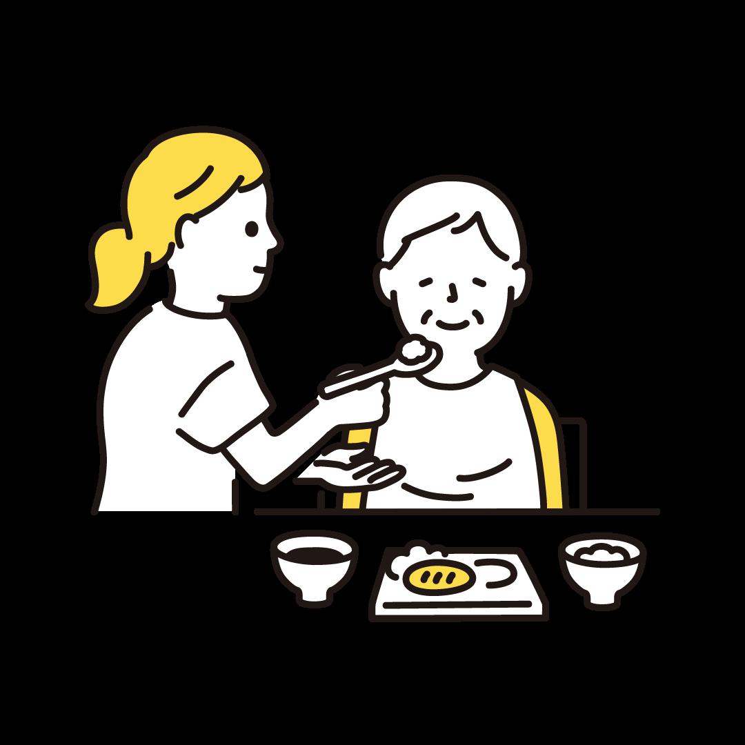食事介助(女性)の単色イラスト